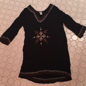 Forever 21 Black Embroidered Dress